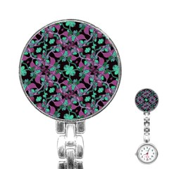 Floral Arabesque Pattern Stainless Steel Nurses Watch