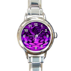 Abstract In Purple Round Italian Charm Watch