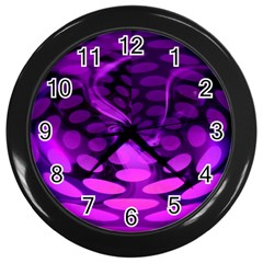Abstract In Purple Wall Clock (black)