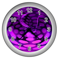 Abstract In Purple Wall Clock (Silver)