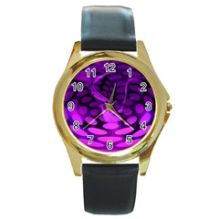 Abstract In Purple Round Leather Watch (Gold Rim)