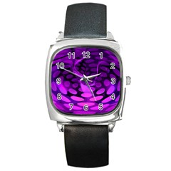 Abstract In Purple Square Leather Watch