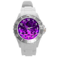 Abstract In Purple Plastic Sport Watch (Large)