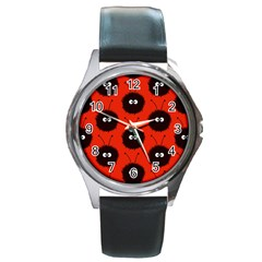 Red Cute Dazzled Bug Pattern Round Leather Watch (silver Rim)