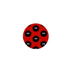 Red Cute Dazzled Bug Pattern 1  Mini Button Magnet