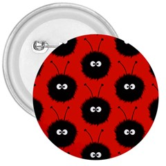 Red Cute Dazzled Bug Pattern 3  Button