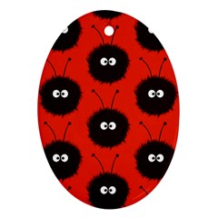 Red Cute Dazzled Bug Pattern Oval Ornament