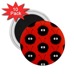 Red Cute Dazzled Bug Pattern 2 25  Button Magnet (10 Pack)