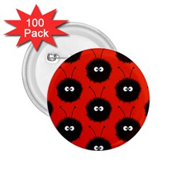 Red Cute Dazzled Bug Pattern 2 25  Button (100 Pack)