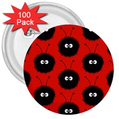 Red Cute Dazzled Bug Pattern 3  Button (100 Pack)