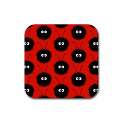 Red Cute Dazzled Bug Pattern Drink Coaster (Square)
