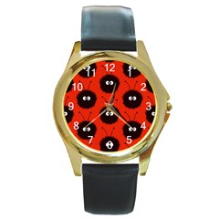 Red Cute Dazzled Bug Pattern Round Leather Watch (Gold Rim)