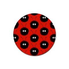 Red Cute Dazzled Bug Pattern Drink Coasters 4 Pack (round)