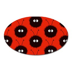 Red Cute Dazzled Bug Pattern Magnet (oval)