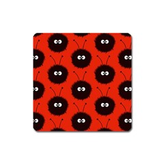 Red Cute Dazzled Bug Pattern Magnet (square)