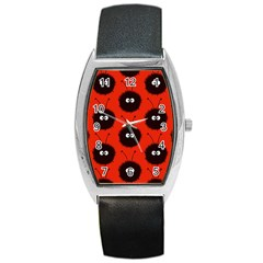 Red Cute Dazzled Bug Pattern Tonneau Leather Watch