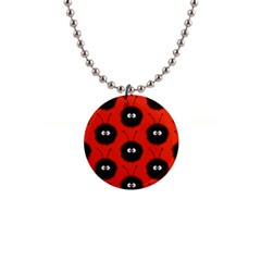 Red Cute Dazzled Bug Pattern Button Necklace