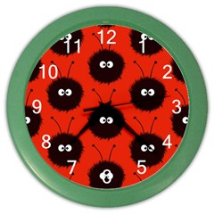 Red Cute Dazzled Bug Pattern Wall Clock (Color)