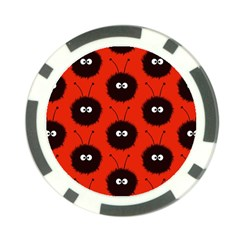 Red Cute Dazzled Bug Pattern Poker Chip