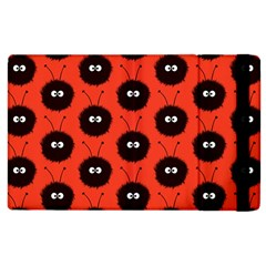 Red Cute Dazzled Bug Pattern Apple Ipad 2 Flip Case