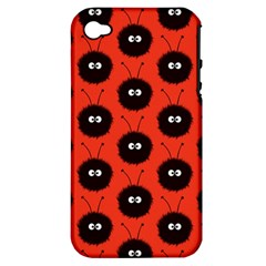 Red Cute Dazzled Bug Pattern Apple Iphone 4/4s Hardshell Case (pc+silicone)