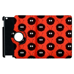 Red Cute Dazzled Bug Pattern Apple Ipad 2 Flip 360 Case
