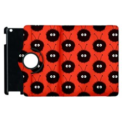 Red Cute Dazzled Bug Pattern Apple Ipad 3/4 Flip 360 Case