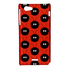 Red Cute Dazzled Bug Pattern Sony Xperia J Hardshell Case
