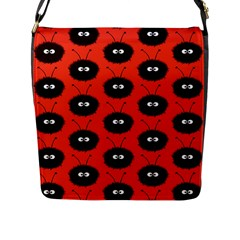 Red Cute Dazzled Bug Pattern Flap Closure Messenger Bag (Large)