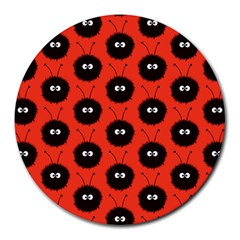 Red Cute Dazzled Bug Pattern 8  Mouse Pad (round)