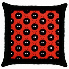 Red Cute Dazzled Bug Pattern Black Throw Pillow Case