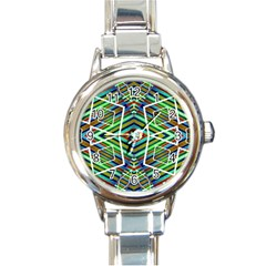 Colorful Geometric Abstract Pattern Round Italian Charm Watch