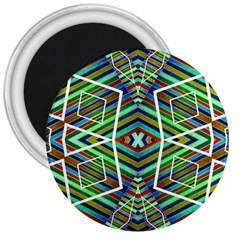 Colorful Geometric Abstract Pattern 3  Button Magnet