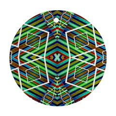 Colorful Geometric Abstract Pattern Round Ornament