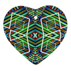 Colorful Geometric Abstract Pattern Heart Ornament