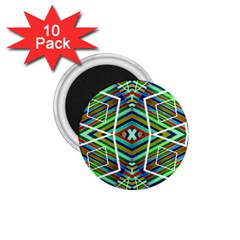 Colorful Geometric Abstract Pattern 1.75  Button Magnet (10 pack)