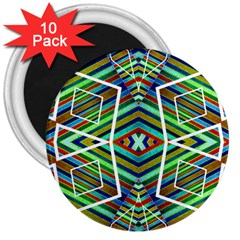 Colorful Geometric Abstract Pattern 3  Button Magnet (10 pack)