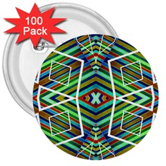 Colorful Geometric Abstract Pattern 3  Button (100 pack)