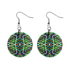 Colorful Geometric Abstract Pattern Mini Button Earrings