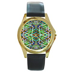 Colorful Geometric Abstract Pattern Round Leather Watch (gold Rim)
