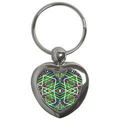 Colorful Geometric Abstract Pattern Key Chain (Heart)