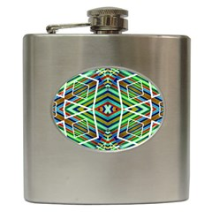 Colorful Geometric Abstract Pattern Hip Flask