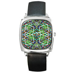 Colorful Geometric Abstract Pattern Square Leather Watch