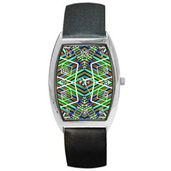 Colorful Geometric Abstract Pattern Tonneau Leather Watch