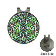Colorful Geometric Abstract Pattern Hat Clip With Golf Ball Marker