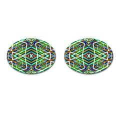 Colorful Geometric Abstract Pattern Cufflinks (oval)