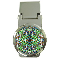Colorful Geometric Abstract Pattern Money Clip with Watch