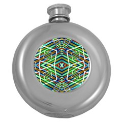 Colorful Geometric Abstract Pattern Hip Flask (round)