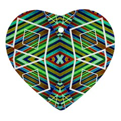 Colorful Geometric Abstract Pattern Heart Ornament (Two Sides)