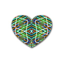Colorful Geometric Abstract Pattern Drink Coasters (Heart)